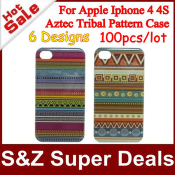 100pcs High Quality Plastic Aztec Tribal Tribe Pattern Retro Vintage case Cover for iphone 4 4S+Fast Express