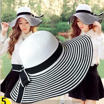 2015 Fashion Charm Summer Vacation In The Of Black And White Stripe Hat Beach Sun Straw Hat Bow Hats For Women(China (Mainland))