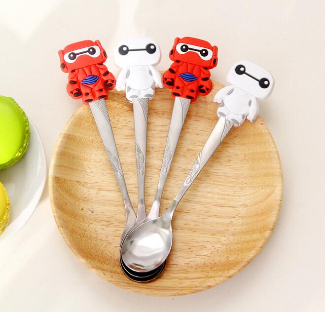 2016 Vaisselle Coffee Spoon Kawaii Big Hero 6 The Baymax Silicone Stainless Steel Spoon Children's Soup Coffee Dinnerware K7547(China (Mainland))