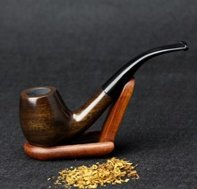 Gift Set Bent Tobacco Pipe 15cm Ebony Wood Pipes 9mm Filter Smoking Pipe Set Weed Pipe FT-508C
