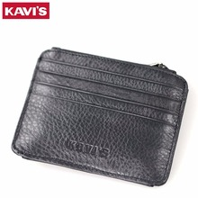 Buy KAVIS Genuine Leather Credit Card Holder Men Women ID Case Bank Card Wallet Driver License Purse Zipper & Hasp Black Card Holder for $9.99 in AliExpress store
