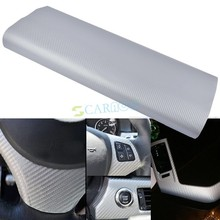 "24"" x 39"" 3D Diagonal Sheet Carbon Fiber Vinyl Film Sheet Car Sticker Silver-gray 8671(China (Mainland))"