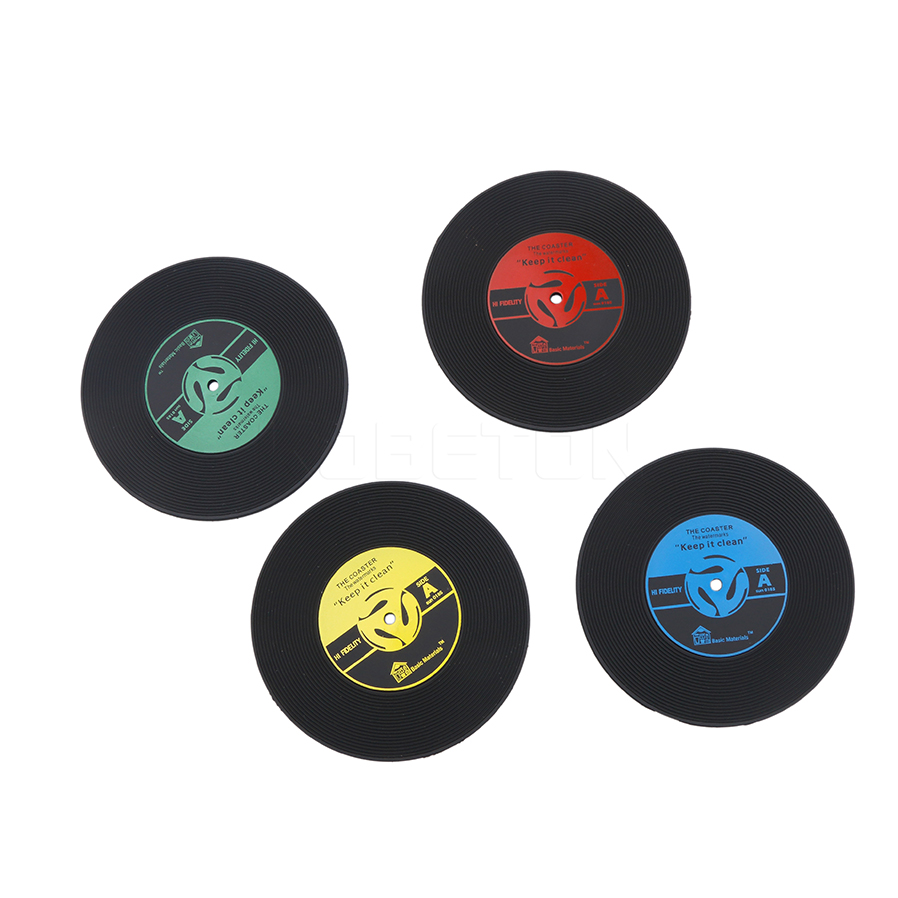 1Pcs Silicone Retro Vinyl CD Record Coasters Home Table Cup Mat Coffee Placemat Novelty Cup Cushion Drinks Holder Dining Decor(China (Mainland))