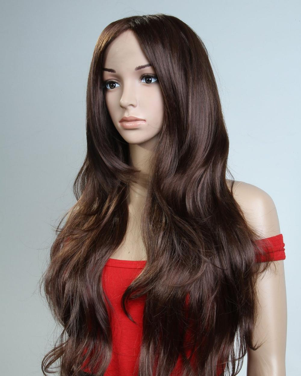 Brown Curly Hair Long Wig 83