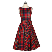 2015 New Women's Vintage Elegant Dress Audrey Hepburn Style Tartan Peplum Bow Work Party Dress Plaid Lolita Retro Flare Dresses