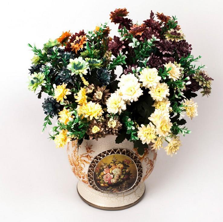 15pcs American Chrysanthemum Artificial Flowers marigold Daisy Artificial Flower Silk Gerbera Flower For Wedding Home Decoration(China (Mainland))