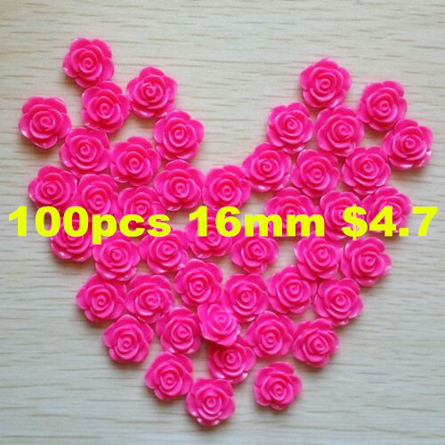 16mm 100pcs resin rose flower,resin flower Mixed colors Flowers Cabochons Cameo free shipping DIY hobby crafs(China (Mainland))
