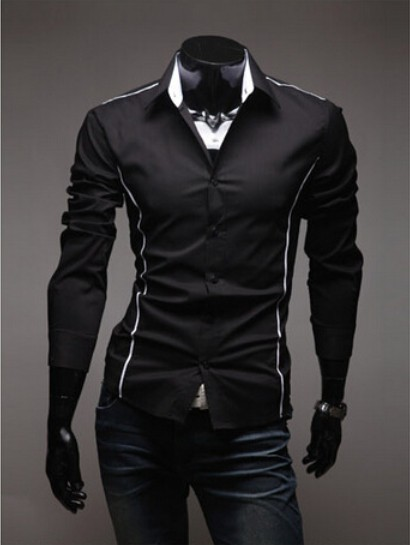 Imported Clothing Fashion Menswear Autumn Men Red Black White Long Sleeve Social Casual Dress Shirt Men