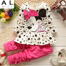 2015 new arrival Girls Clothing set Minnie t shirt pants suit 2pcs set baby girls casual