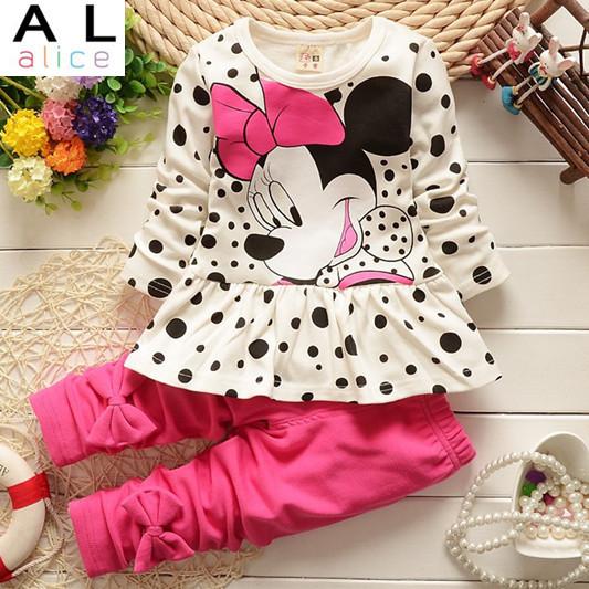 2015 new arrival Girls Clothing set Minnie t-shirt + pants suit 2pcs/set baby girls casual long-sleeved t-shirt dot leggings set(China (Mainland))
