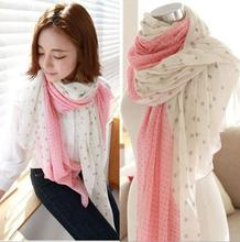 2015 Factory selling gradient size dot voile scarf joker long scarf wholesale scarves shawls(China (Mainland))