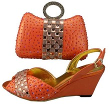 2015 New design and hot-selling italy matching lady shoe and bag set with full shinning stones W336 Charming Orange size 38 to43(China (Mainland))