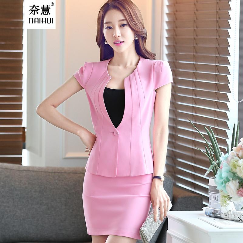 2016 Korean style slim women's office skirt suit work wear formal short sleeve Patchwork blazer skirt plus size 3XL uniform(China (Mainland))