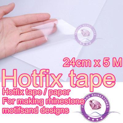 24cm x 5m hotfix transfer paper rhinestone tape pvc plastic with PET glue good quality(China (Mainland))