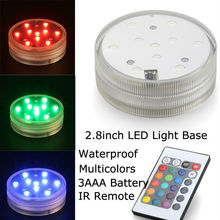 Assorted Colors 10SMDs Waterproof Led Vase Light Base RC Decor Submersible Wedding Party Floral Lights With Remote Controller(China (Mainland))