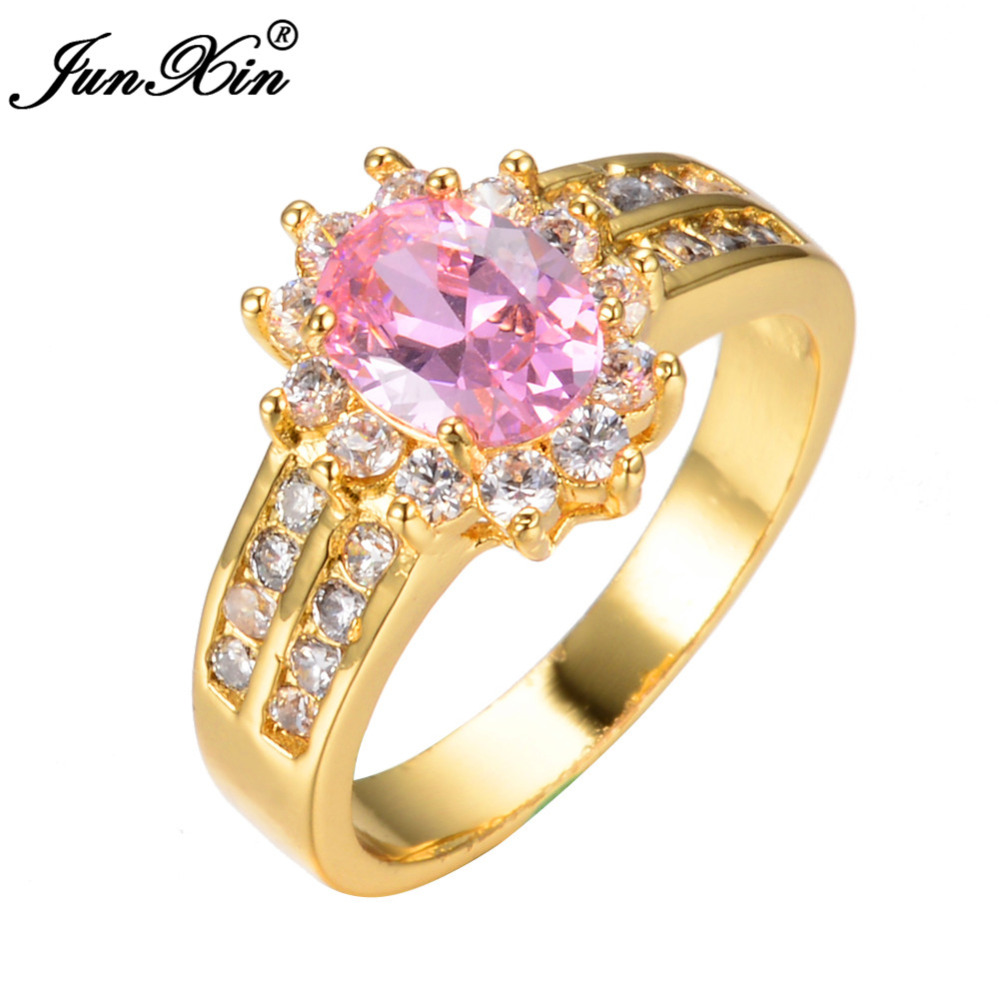 JUNXIN Crystal Fashion Oval Pink Sapphire Female Ring Yellow Gold Filled CZ Diamond Rings Wedding Jewelry Mother's Day Gifts(China (Mainland))