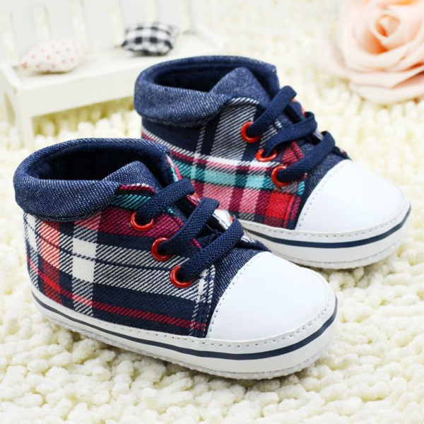 Toddler Boys Plaid Crib Shoes Sneaker Kid Lace UP Soft Sole Baby Shoes Prewalker(China (Mainland))