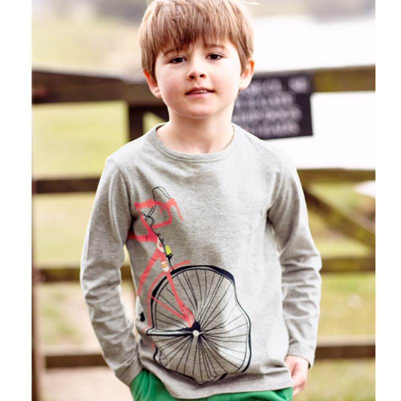 2015 New kids boys round neck long sleeve T shirt printed cute bicycle wheels pattern, next* clothing style for 1.5 - 6 yrs(China (Mainland))