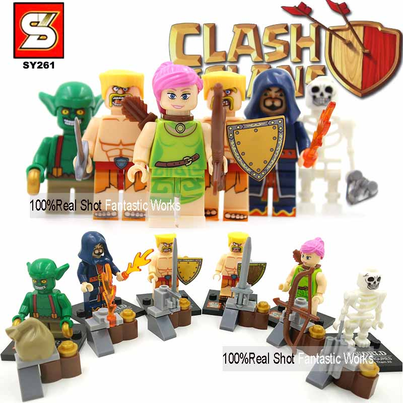 Clash Of Clans Minifigures SY261 Minifigure Building Blocks Figure Barbarian Goblin Wizard Wall Breaker Archer Toys For Children(China (Mainland))