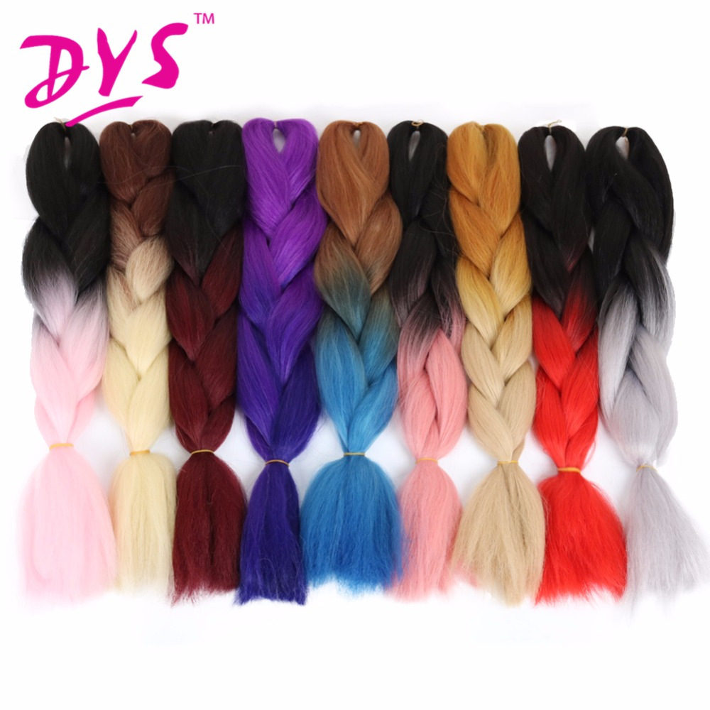 Deyngs 24Inch Ombre Kanekalon Braiding Hair Extensions Two Tone High Temperature Synthetic Jumbo Braid Hair 100g/pcs(China (Mainland))