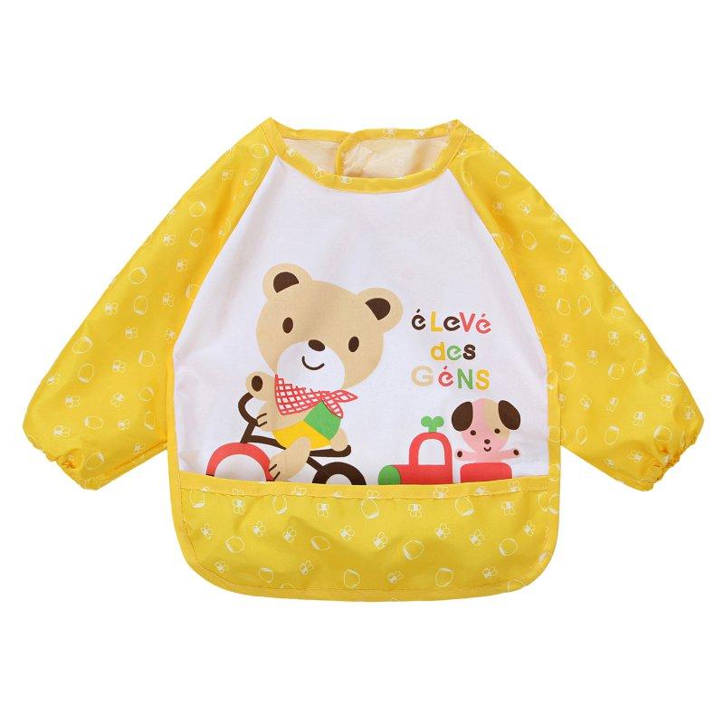Hot Children Bib Cartoon Printed Long Sleeve Baby Bib Infant Waterproof Apron Clothing 8 Pattern for Choose H34(China (Mainland))