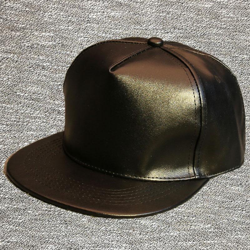 pu leather baseball caps flat brim hat