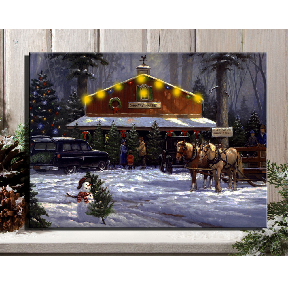 led canvas art illustrated christmas holiday at country market with horsecart picture framed wall art light up oil painting(China (Mainland))