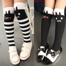 Baby Kids Girls Children Cute Princess Stripes Cat Pattern Knee High Socks Free Shipping(China (Mainland))