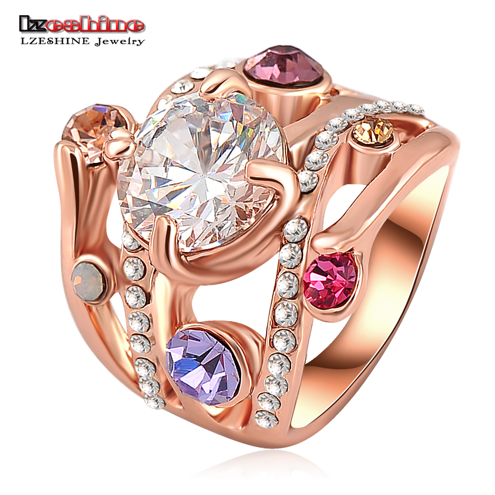 LZESHINE Fashion Star Ring Two-Tone Design Star Of Hope Ring Made With Genuine AAA Austrian Crystals SWA Elements Ri-HQ0051(China (Mainland))