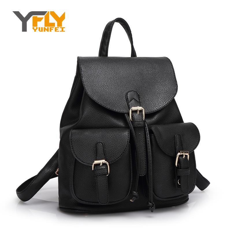 Y-FLY New Brand School Bag Backpacks PU Leather Women Backpack for Teenager Girls 2016 Cute Preppy Backpacks Tote Bags HC5037(China (Mainland))