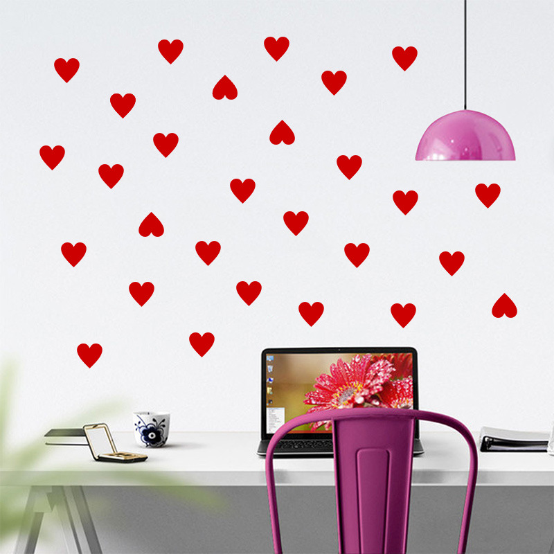 019* cute Heart Wall Stickers 42pcs/ lot Wedding romatic Decals New couple Home Living Room Bedroom Decor Wallpaper Mural art(China (Mainland))