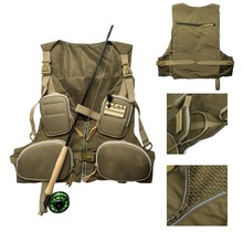 New Handy Adjustable Vest Mutil-Pocket Outdoor Waistcoat Color Army Green Free Shipping(China (Mainland))
