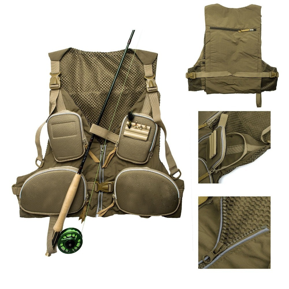 New Handy Adjustable Fly Fishing Vest Mutil-Pocket Fishing Pack Outdoor Vest Color Army Green Free Shipping(China (Mainland))