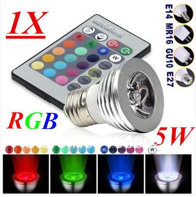 AC85-265V 16 Colors changing RGB LED Lamp 5W E27 E14 GU10 GU5.3( MR16 12V) RGB LED Bulb Lamp Spotlight with Remote Control(China (Mainland))