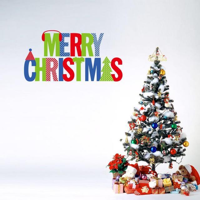 Прекрасный красочный буквами рождеством окна наклейки съемный наклейка подарок росписи декор для дома mas16 бесплатная доставка