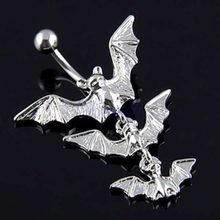 Splendid Creative Body Piercing Jewelry Gothic Dangle Bar Belly Flying Bats Navel Ring  526M