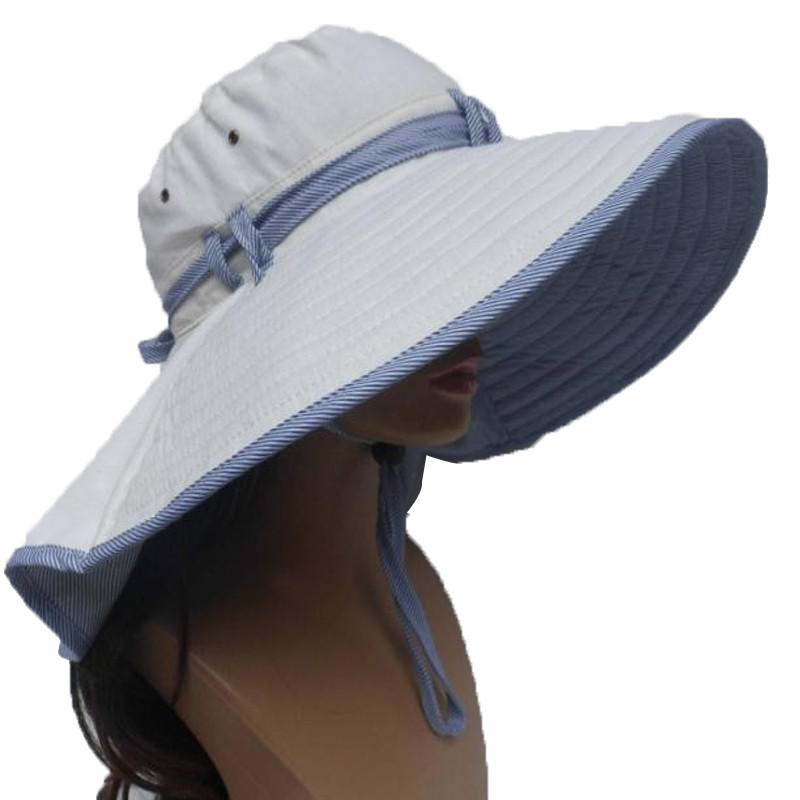 Women Large Wide Brim Cotton Breathable Beach Hats Sun Cap Summer Women Hat New Fashion Lace-up Outdoor Hiking Folding Caps(China (Mainland))