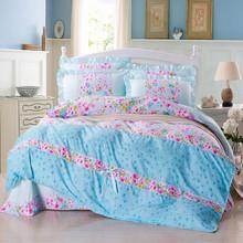 princess pastoral Home textile 4 PCS/Lot cotton 3d Bedding Sets 2015 Print  Bed Set Duvet Cover Bed Sheet Pillowcase Bedding Set(China (Mainland))
