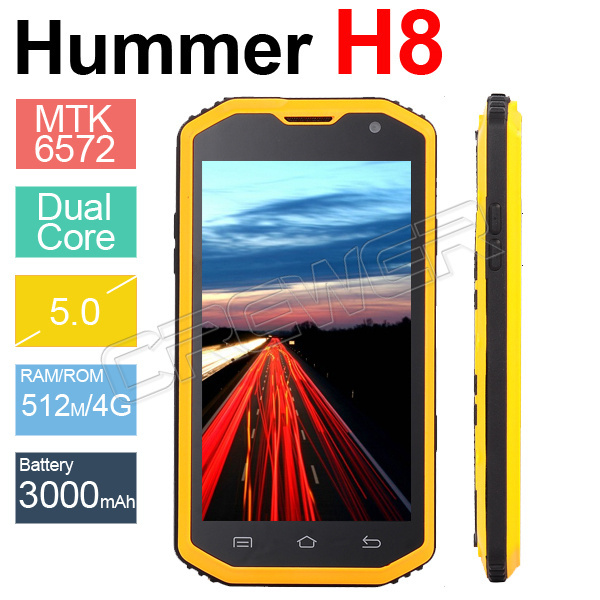 Original Hummer H8 Smart Mobile Phone Shockproof Dustproof MTK6572 Dual Core 5inch Upgrade H5 Outdoor GPS 3G Waterproof Phone(China (Mainland))