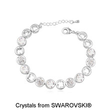 Real Pt950 Platinum Plated 100% Original SWAROVSKI ELEMENTS Multi Round Crystals Bracelets for Women Christmas Day Gift 17918(China (Mainland))