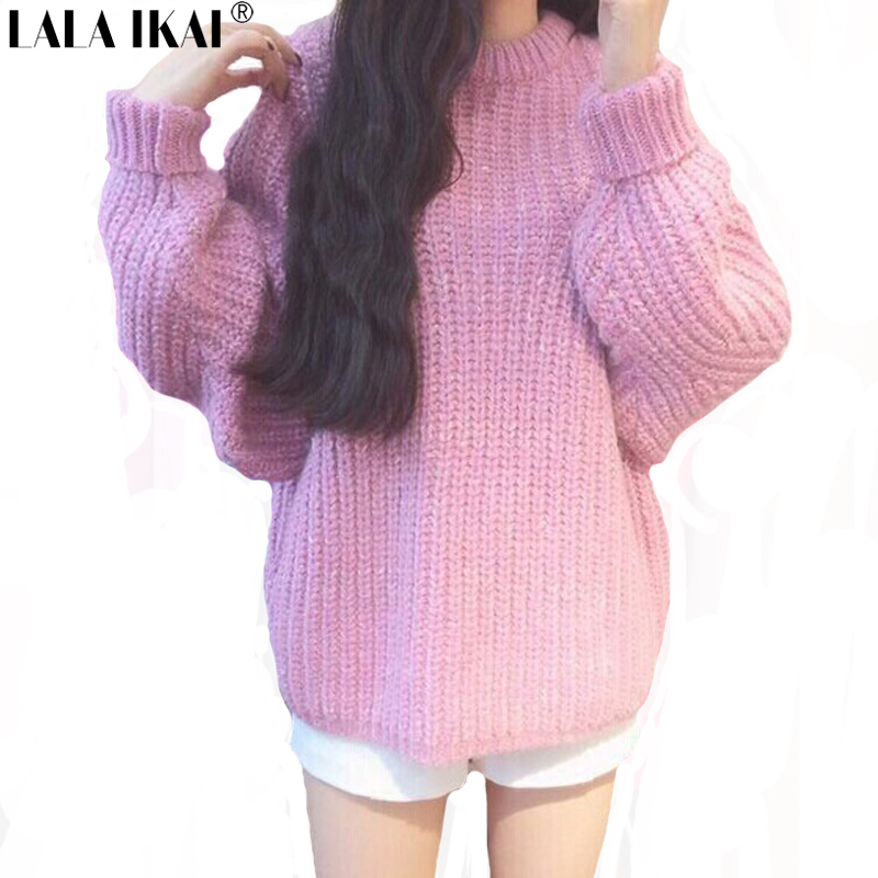 Pull Femme Pink Sweaters and Pullovers Oversize Woman Plus Size Hiver Wool Blends Sweater Women Knitwear Loose Top Girls SWD0078(China (Mainland))