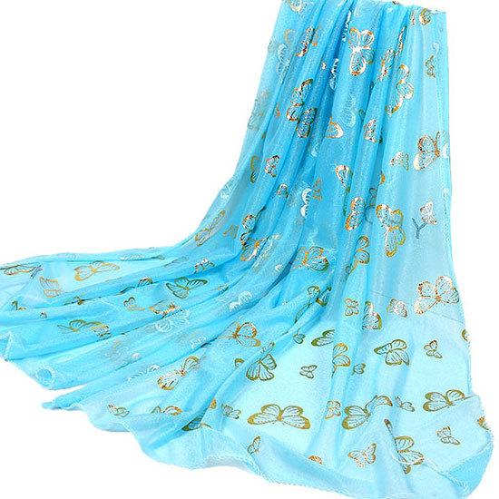Hot Stamping Yarn Silk Scarf Women Golding Butterfly Scarves 165cmx50cm Shawls Girls Pashmina Rayon Fashion Print Scarves LQH007(China (Mainland))