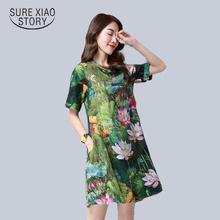 Buy new 2016 fashion plus size women dress cotton elegant slim short sleeved Retro loose female printing dress hot sale 931B 25 for $11.38 in AliExpress store