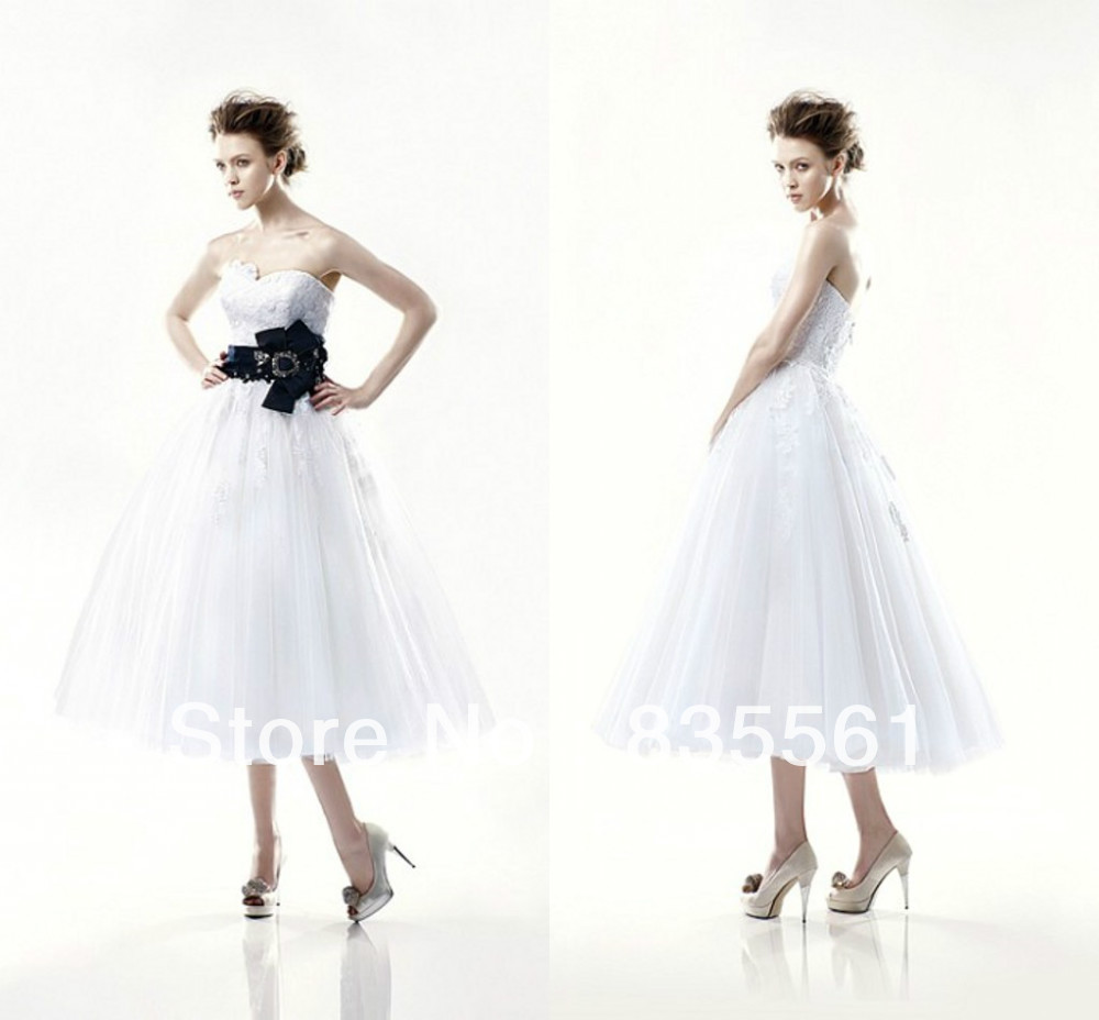 2016 Tea Length Ball Gown White Bridal Wedding Dresses Detachable Black Sash Corset Asymetrical Sweetheart Neckline Cheap Beach(China (Mainland))