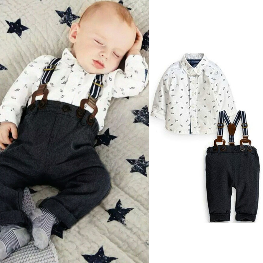 2Pcs Set Outfit Baby Boy Clothes Sets Toddler Shirt Top+Bib Pants Overall Costume Kids Clothing Set for 3M-2Y(China (Mainland))