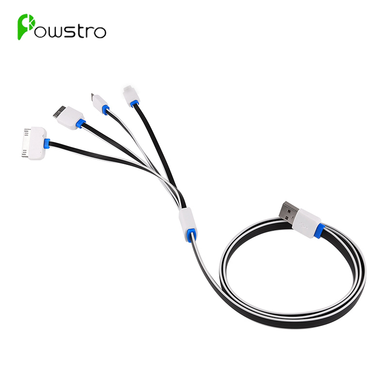 Powstro 4 in 1 Multi USB Charging Cable Charger Cord for iPhone 6S 6 Samsung Note 3 Android Phone Power Bank(China (Mainland))