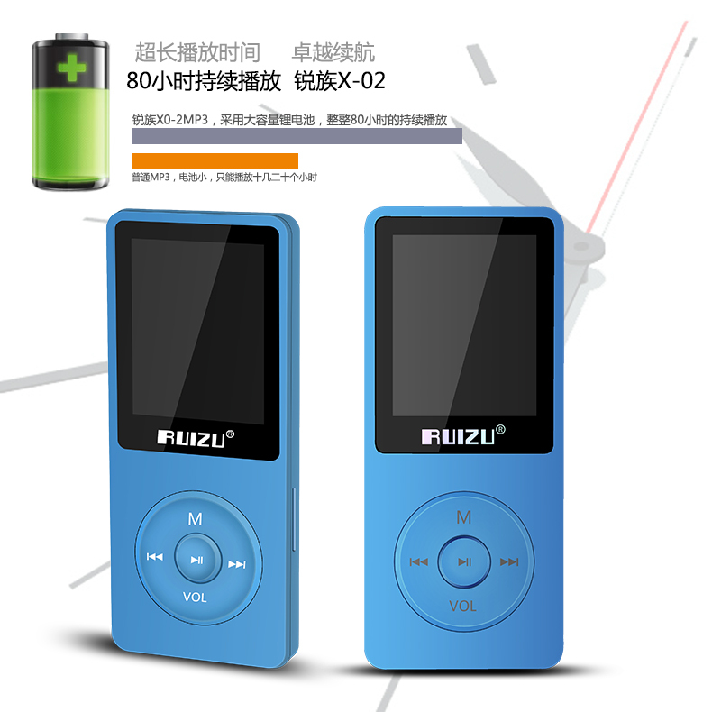 Original RUIZU X02 Ultrathin Light Sports MP3 Player AVI 4GB Storage And 1.8 Inch Screen Can Play 80 hours Lossless Flac Ape(China (Mainland))