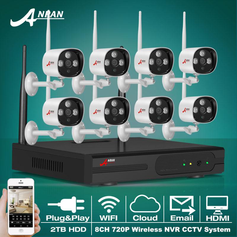 Plug And Play P2P 720P HD Outdoor IR IP Camera WIFI Security CCTV Camera System 8CH Wireless NVR Surveillance System 2TB HDD(China (Mainland))