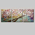 Modern blossom tree acrylic 3 panel modern flower acrylic floral knife canvas art picture wall art