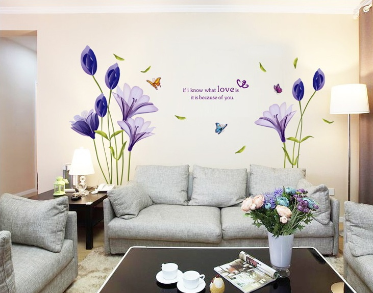 Hot Purple tulip stickers for wall decoration stickers for kids chart kids wall stickers for wall decoration Home Decor(China (Mainland))